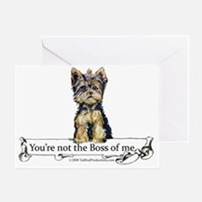 2-Boss Yorkie Greeting Card