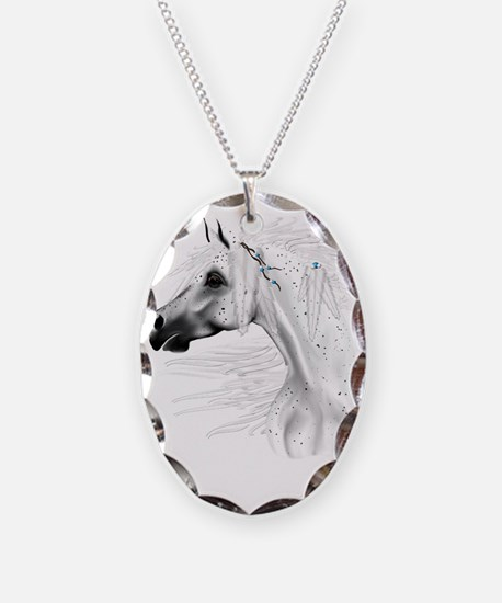 Leapard Appy and White Feather Necklace Oval Charm