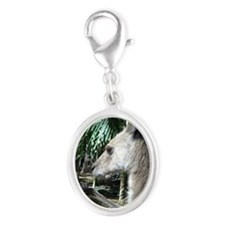 Australia wallaby Silver Oval Charm