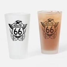 route_66_t_shirt Drinking Glass
