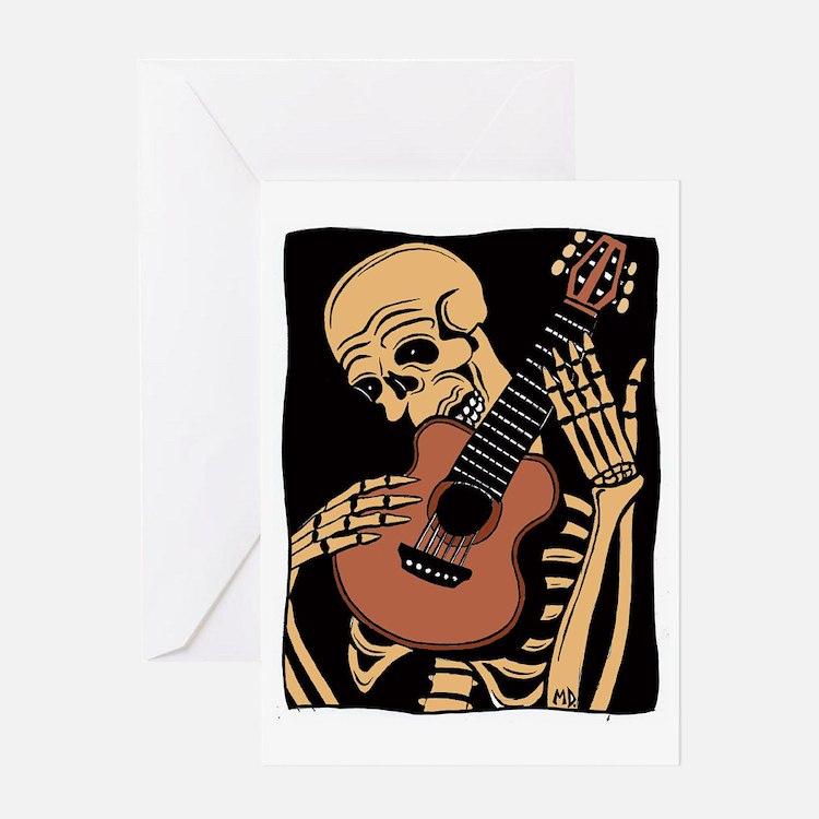 skullguitarcolor2 Greeting Card