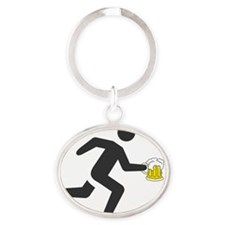 Beer Runner Oval Keychain