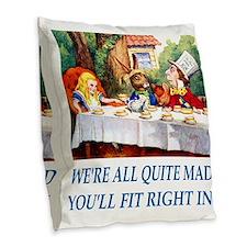 NEW ALICE 002_ SQ MAD BLUE Burlap Throw Pillow