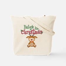 1st Christmas Baby Reindeer Tote Bag