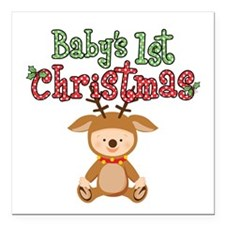 """1st Christmas Baby Reindeer Square Car Magnet 3"""" x"""