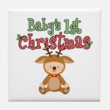 1st Christmas Baby Reindeer Tile Coaster