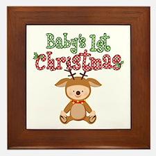1st Christmas Baby Reindeer Framed Tile