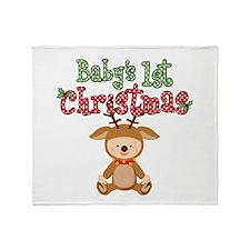 1st Christmas Baby Reindeer Throw Blanket