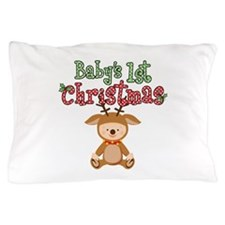 1st Christmas Baby Reindeer Pillow Case