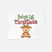 1st Christmas Baby Reindeer 5'x7'Area Rug