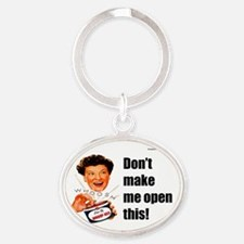 Can Of Whoop Ass Oval Keychain