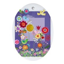 Flowers Oval Ornament