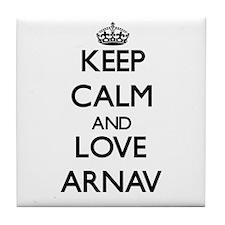 Keep Calm and Love Arnav Tile Coaster