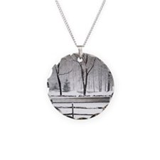 Winter Pond and Road Tote Necklace
