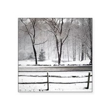"Winter Pond and Road Tote Square Sticker 3"" x 3"""