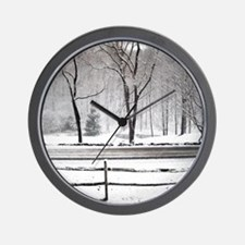Winter Pond and Road Tote Wall Clock