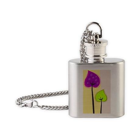 retro flowers Flask Necklace