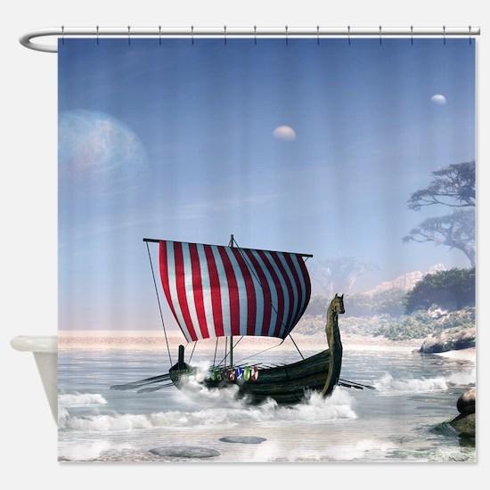 Wonderful longboat, vikking ship Shower Curtain