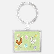 Happy Hens postcard Landscape Keychain
