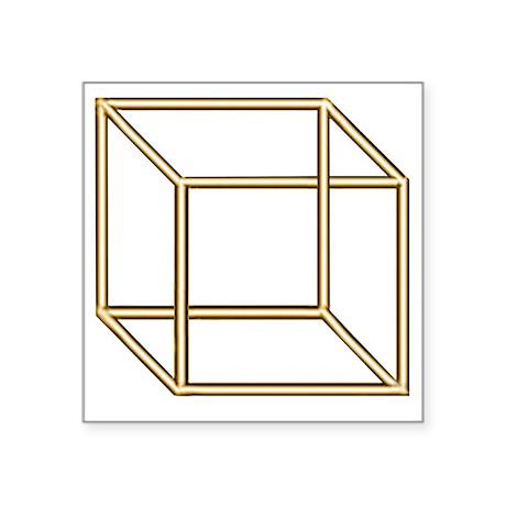 """Necker cube Square Sticker 3"""" x 3"""""""