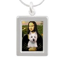 Mona's Westie (P) Silver Portrait Necklace