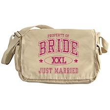 bridejustmarriedplaid Messenger Bag