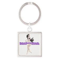 Hula Girl Purple Square Keychain