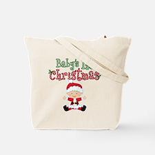 1st Christmas Baby Santa Tote Bag