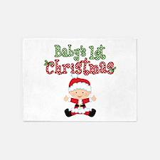 1st Christmas Baby Santa 5'x7'Area Rug