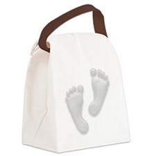 Baby Feet in White Canvas Lunch Bag