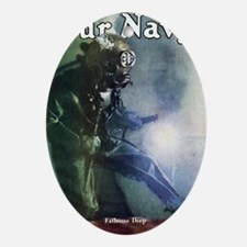 NAVY DIVER WELDING Oval Ornament
