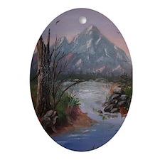 """""""Mountain Sunrise"""" Oval Ornament"""