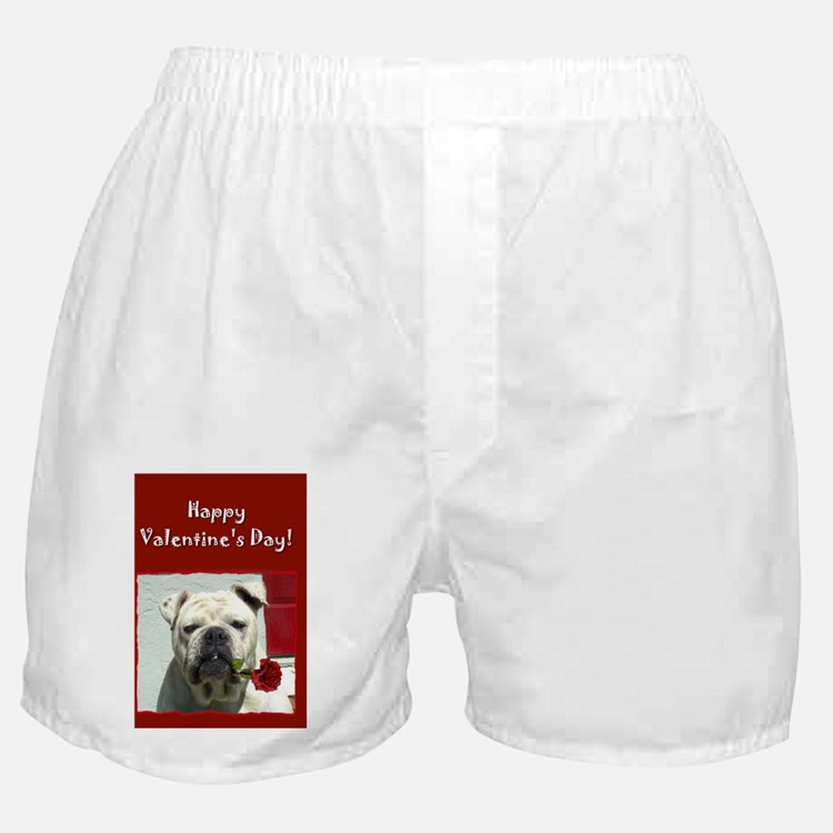 Happy valentines day bulldog Boxer Shorts