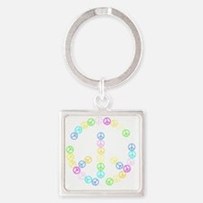 Peace Signs Square Keychain