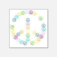 "Peace Signs Square Sticker 3"" x 3"""