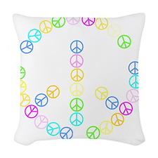 Peace Signs Woven Throw Pillow