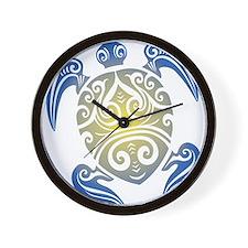 Tribal Sea Turtle Wall Clock