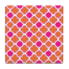 Quatrefoil Pattern Orange and Hot Pink Tile Coaste