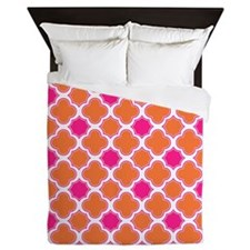Quatrefoil Pattern Orange and Hot Pink Queen Duvet