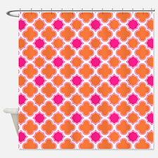 Quatrefoil Pattern Orange and Hot Pink Shower Curt