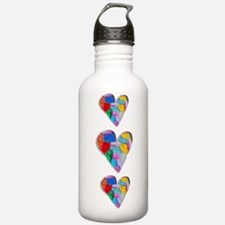 MULTICOLORED HEART 3 Water Bottle