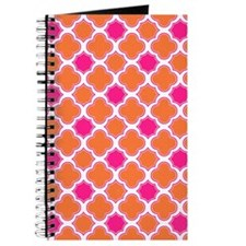 Quatrefoil Pattern Orange and Hot Pink Journal