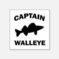 "CAPTAIN WALLEYE CENTERED Square Sticker 3"" x 3"""