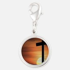 Sunset Cross Silver Round Charm