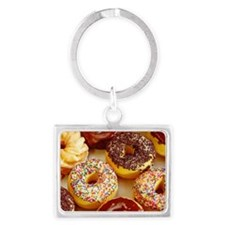 Assorted delicious donuts Landscape Keychain