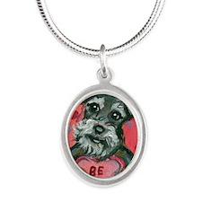 schnauzval Silver Oval Necklace