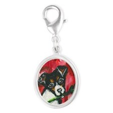 ratterrierroseval Silver Oval Charm