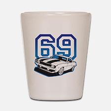 blue 69 camaro Shot Glass