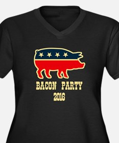 Bacon Party 2016 Women's Plus Size V-Neck Dark T-S