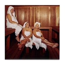 Sauna Girlfriends in Towels Tile Coaster